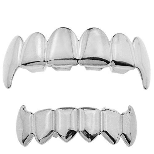 Best Grillz Full Fangs Set Silver Tone Plain Top And Bottom Hip Hop Dracula Vampire Fang Teeth