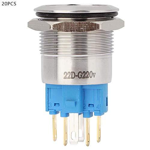 プッシュボタンスイッチ、20個22mm実用ステンレス鋼自動リセット2NO + 2NCスターターコンタクターリレー用ライト付きフラットリングヘッドボタンスイッチ(緑)