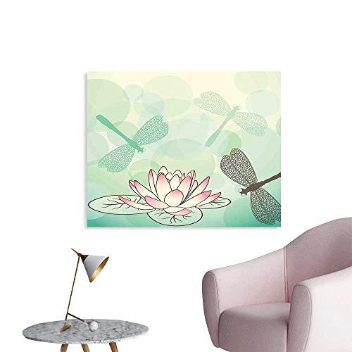 Lilies Water Dragonfly - J Chief Sky Lotus Flower Wall Picture Decoration Exotic Blossom with Pinkish Petals Water Lily and Dragonflies on Pale Green Wall Stickers for Kids Room W20 xL16