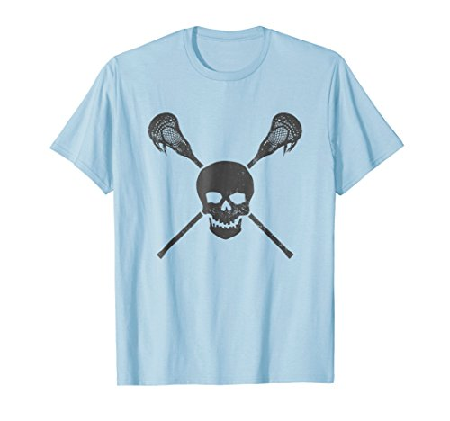 Lacrosse Pirate Sticks & Skull Cool Vintage Gift T-Shirt - B
