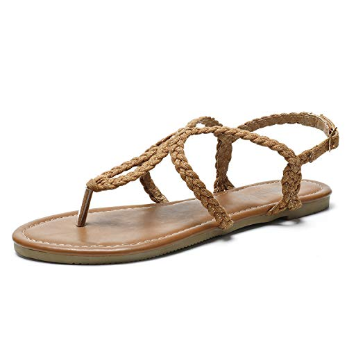 SANDALUP Flat Sandals Hand-Woven with Canvas for Summer Women. Brown 07.5