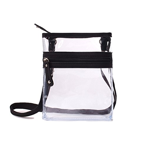 Small Clear Cross-body Messenger Bag - Multi Pocket - Long Adjustable Strap - NFL Stadium Approved ()