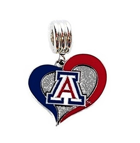 Heavens Jewelry University of Arizona Wildcats Heart Charm Slide Pendant for Your Necklace European Charm Bracelet (Fits Most Name Brands) DIY Projects ETC ()