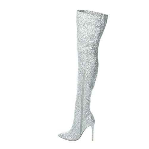 Noche Botas Alto Mujer Cm Moda 11 Plata Stiletto Zapatillas Talón 6t8qUt