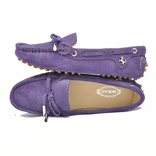 Meijili Women's Suede Leather Loafer Flats Driving Moccasin Work Casual Peas Shoes Purple ldlDvKoH