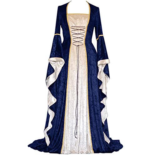 Sunyastor Womens Renaissance Medieval Costume Dress Lace up Irish Over Long Dresses Victorian Vintage Cosplay Retro Gown Navy]()
