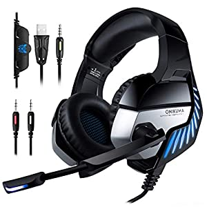 4efe8fc3593 गेमिंग हेडफ़ोन PC Headset, ONIKUMA Gaming Headset for PS4 Xbox One PC Headphones  with Microphone ...
