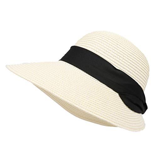 f03809f80 Baseball Cap LuluZanm Outdoor Fashion Womens Girls Weaving Straw Beach Sun  Summer Hat Casual Cap Spring Travel Hats (White, Freesize)
