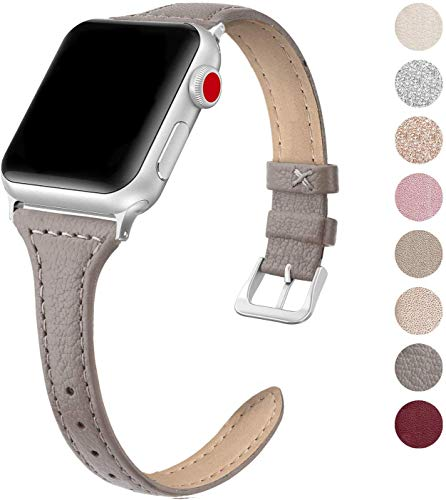 SWEES Leather Band Compatible for Apple Watch iWatch 38mm 40mm, Slim Thin Dressy Elegant Genuine Leather Strap Compatible iWatch Series 5 Series 4 Series 3 Series 2 Series 1 Sport Edition, Gray