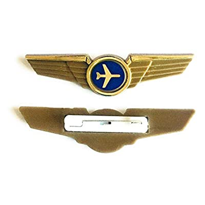 Aviator Kids Airplane Pilot Wings Plastic Pins Pinbacks Badges Lot of 2 Gold: Clothing