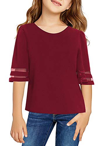 Aleumdr Girl's 3/4 Bell Sleeve Mesh Panel Tee Tops Casual Keyhole Back Loose Shirt Red for 4-5 Years