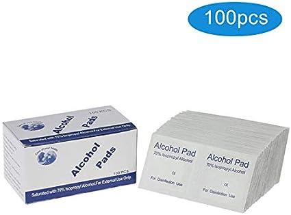 AZUNX Disposable Sterilized Alcohol Wipes 100PCS Alcohol Prep Cotton Pads Disinfection Swabs