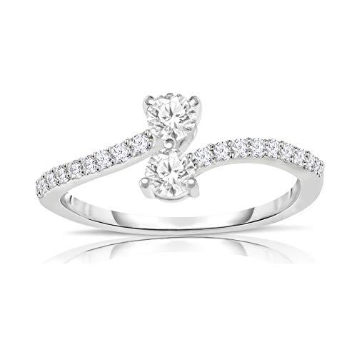 NATALIA DRAKE 10KT White Gold 1/2cttw Genuine Diamond Two Stone Engagement Ring (SZ 7) ()