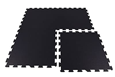 IncStores Home Gym Flooring Interlocking Rubber Tiles Exercise & Equipment Mats (4 Tiles, 16 Sqft)