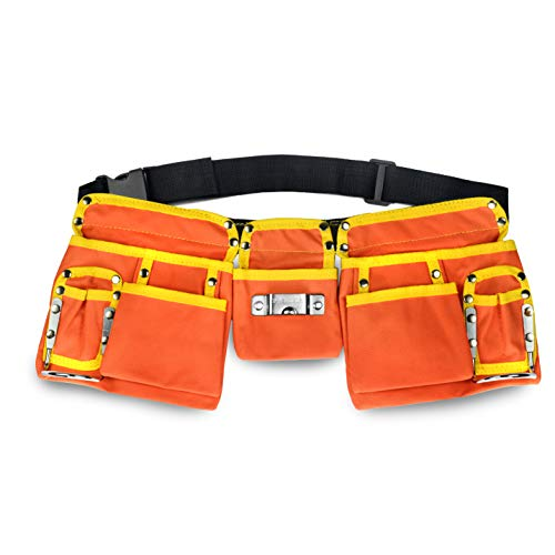 11 Pocket Tool Belt - GlossyEnd 11 Pocket Orange 600D Polyester Construction Kids Tool Belt, Work Apron Great for Pretended Play Role, with Adjustable Poly Web Belt Quick Release Buckle