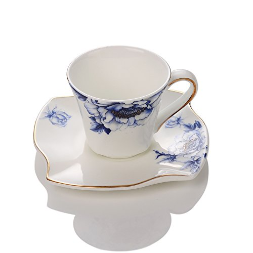 Porlien Porcelain 2.8-Ounce/80ml Espresso Cups Set of 4 with Saucers, Blue Floral Gold Trimmed Blue Flower Cup