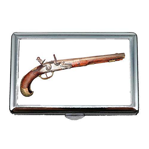 Cigarette Holder Case,Pistol and Stamen,Cigarette case Wallet,Old Gun,Business Card Holder Business Card Case Stainless
