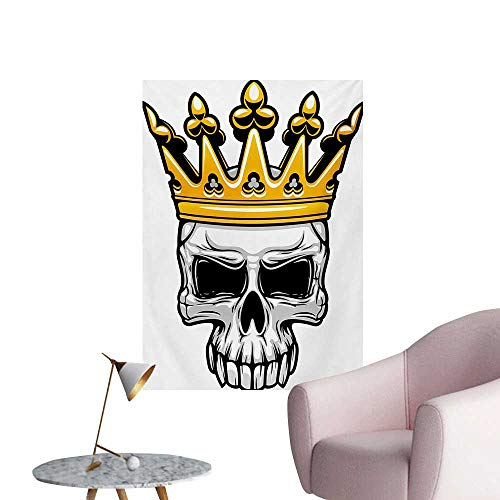 Anzhutwelve King Photographic Wallpaper Hand Drawn Crowned Skull Cranium with Coronet Tiara Halloween Themed ImageGolden and Pale Grey W24 xL36 Cool Poster]()