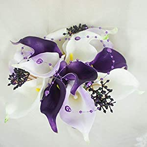 Lily Garden Real Touch Calla Lily Purple and White Flowers Wedding Bouquet (12 Stems Bouquet) 74