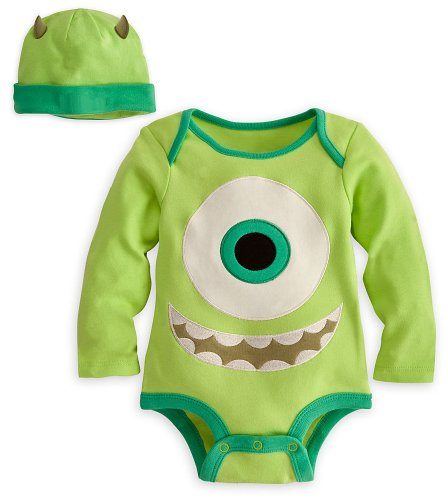Disney Store Mike Wazowski Onesie Costume Bodysuit Size 6-12 Months with (Monsters Inc Baby Onesie)