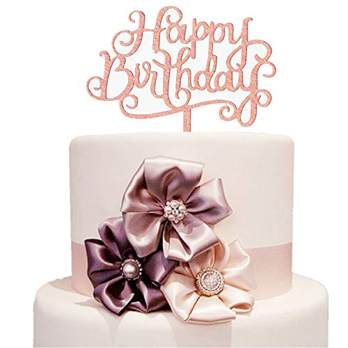 Price comparison product image Rose Gold Happy Birthday Cake Toppers Acrylic Mirror Shinny Birthday Party Celebration