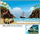 Pen Plax BGC2 Cling-On Pirate Ship Aquarium Background, 20'' x 12''
