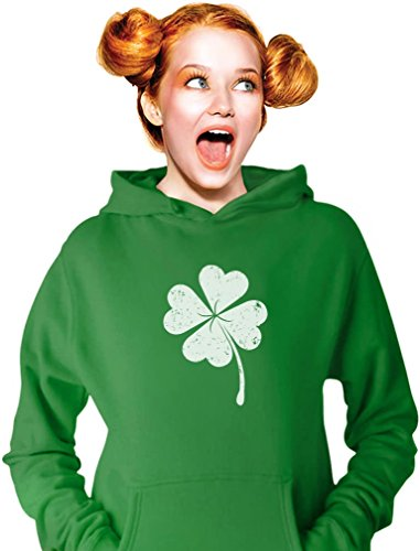 Day Hoodie - Tstars Faded Shamrock Hoodie for St. Patrick's Day Irish Women's Hoodie Large Green