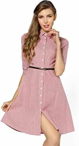 8c50541765dd yulinge Womes Red 1/2 Sleeve Striped Elegant Over-Turned Collar Midi Dress