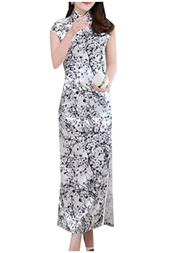 Honey GD Women Slim Long Dress Charmeuse Flower Print Cheongsam?Dress Black M