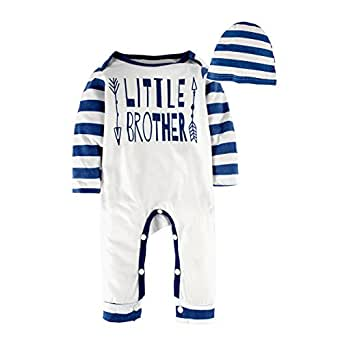 BIG ELEPHANT Baby Boys'2 Piece Long Sleeve Graphic Pajama Romper with Hat