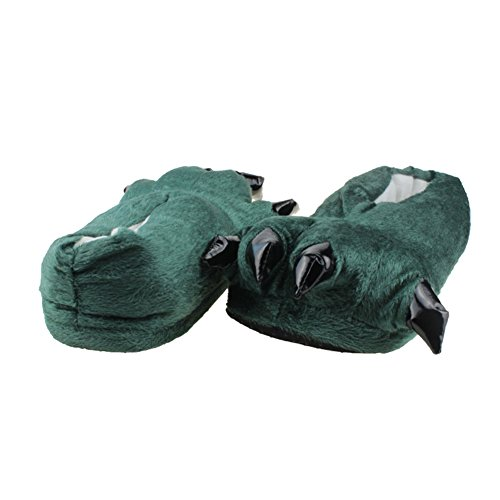 Fuzzy Animal Dinosaur Claw Slippers Soft Plush Paw for Kids and Adults Dark Green K2s9zCw