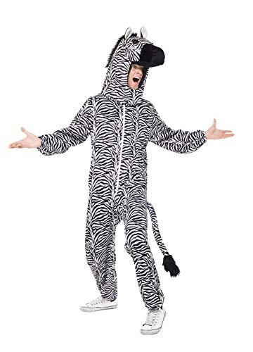 (Smiffys Adult Unisex Zebra Costume, All in One and Hood, Party Animals, Serious Fun, One Size,)