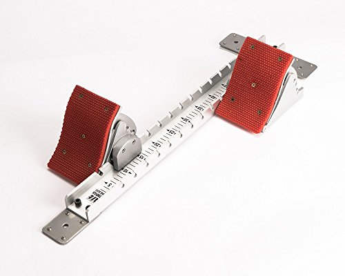 Track & field aluminum starting block. Lightweight. Easy to carry. Four pedal angle positions. Five inch wide pedals. Best selling High School track & field starting block. Ten year -