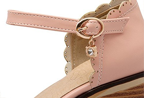 Womens With Cute Covered Date Low Ankle Round Pink Straps Aisun Shoes Kitten Top Heels Work Toe Buckle Sandals R6AqwUd