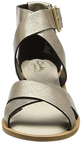 Clarks 261228724, Sandalias Mujer Plateado (Champagne)