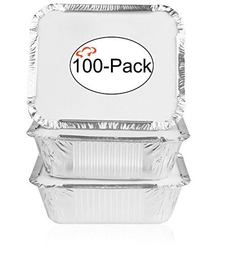 Tiger Chef Oblong Tin Foil Pans with Lids, Disposable Aluminum Freezer to Oven Safe Containers, 1-Pound, for Takeout, Baking, Cooking, Storing and Freezing (100,1-Pound with Board Lids)