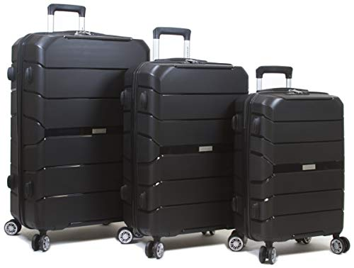 Dejuno 25DJ-8292-BLACK Ark Lightweight Hardside Spinner Luggage Set44; Black – 3 Piece