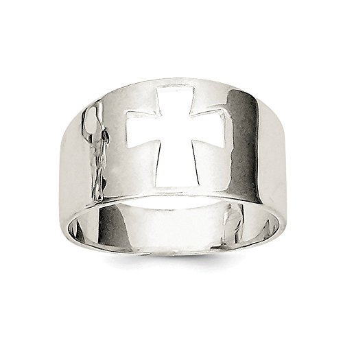 .925 Sterling Silver Cross Cutout Ring (Small Out Ring Cut Cross)