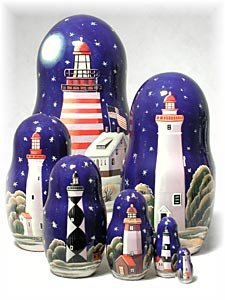 Lighthouses in the Night Russian Nesting Doll 7pc./8'' by Golden Cockerel (Image #2)