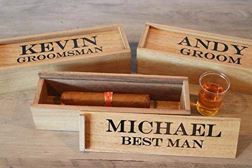 Personalized Cigar Box Groomsmen Gift, Groomsman Cigar Box, Groomsmen Proposal, Best Man Box, Wood Cigar Box, Bachelor Party, Bridal Party (Best Cigars For Bachelor Party)