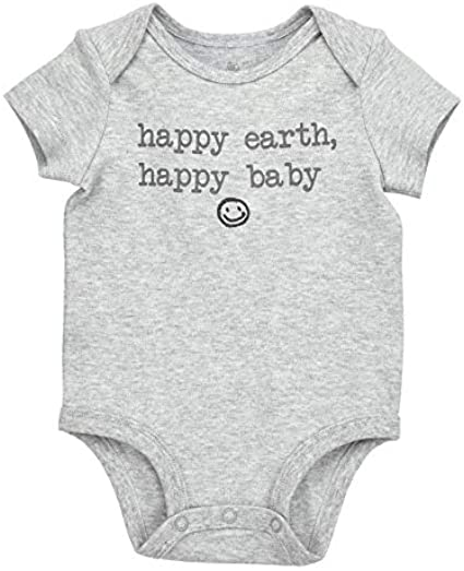 Organic Happy Baby Short Sleeve Bodysuit and Dash Stripe Pants Outfit Set Oliver /& Rain Grey//Black Heather 3M