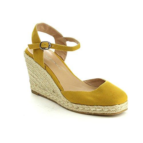C LABEL ROLLIN-1 Women's Ankle Strap Sling Back Espadrille Wedge Sandal,MUSTARD,9
