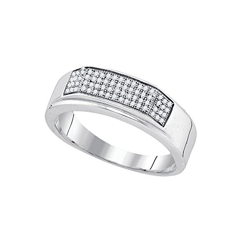 Sonia Jewels Size 10.5-925 Sterling Silver Mens Round Diamond Micropave Flat Wedding Anniversary Band Ring (1/5 Cttw)
