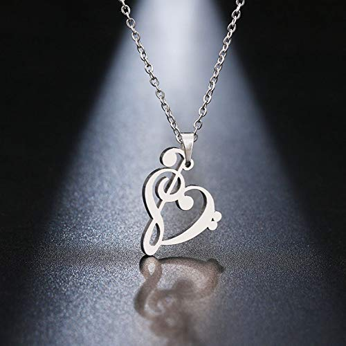 (PCDHF Stainless Steel Necklace Music Symbol Heart of Treble and Bass Clefs Infinity Love Charm Pendant Unisex Jewelry)