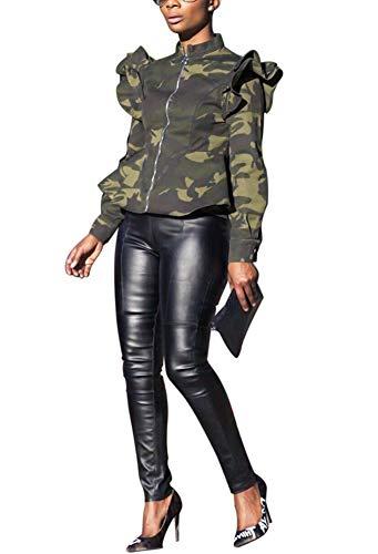 - LETSVDO Women's Long Sleeve Lightweight Full Zipper Camo Casual Camouflage Shirt Jacket Plus Size