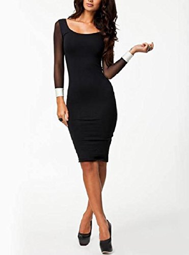 Women Backless Stitch Sheer Cocktail Dress Black Scoopneck Business Coolred zwHRx6gqdw