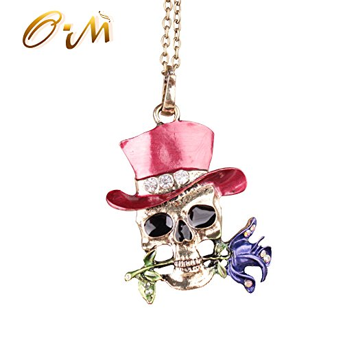 Onairmall Rose Skeleton Head Skull Necklace Pendant For Women, Halloween jewelry (Red) (Red Skull Costume)
