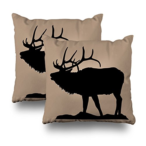 Decorativepillows Set of 2 18 x 18 inch Throw Pillow Covers,Large Elk Silhouette with Antlers Pattern Double-Sided Decorative Home Decor Indoor Garden Sofa Bedroom Car Kitchen Nice Cotton
