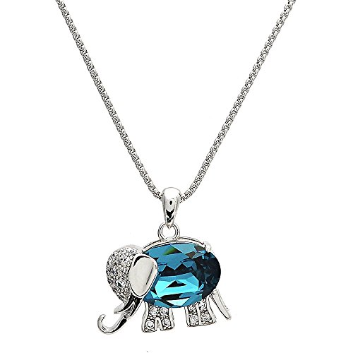 Swarovski Elements Crystal Bermuda Blue Fancy Necklace, Elephant Style, Rhodium, 16 In. (Swarovski Elephant Necklace)