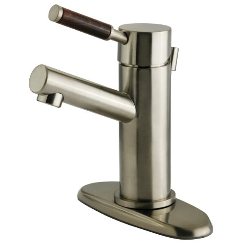 Lavatory Faucet Wellington - Kingston Brass KS8428DWL 4-Inch Centerset Lavatory Faucet with Brass Pop-Up Drain and Plate, Satin Nickel